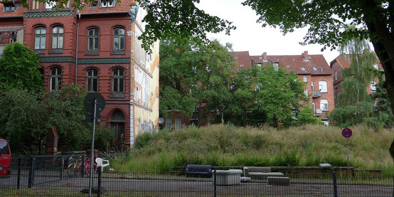 Frommestraße nach dem Abriss von Haus Nr. 4 und 5 im Jahr 2012; der Abrissschutt wurde zwecks Beschwe-rung zur Bodenverdichtung liegen gelassen und hat sich begrünt. © Peter Pez
