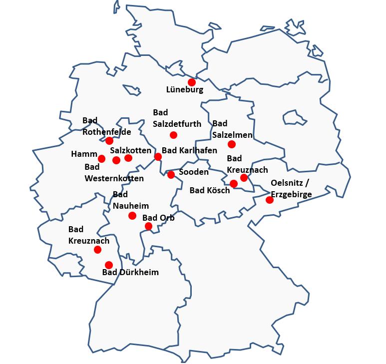 Standorte von Gradierwerksanalagen innerhalb Deutschlands © Peter Pez