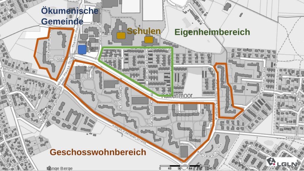 Abb. 1: Großwohnsiedlung Kaltenmoor, © Geofachdaten Landkreis Lüneburg.de; www.landkreis-lueneburg.de/geoportal