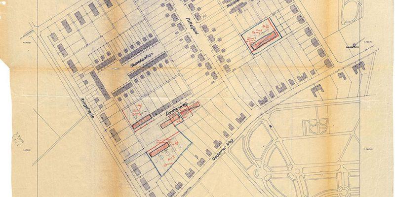 Lageplan der Siedlung, 1938 © Stadtarchiv Lüneburg, StadtALg, K 14 C 162