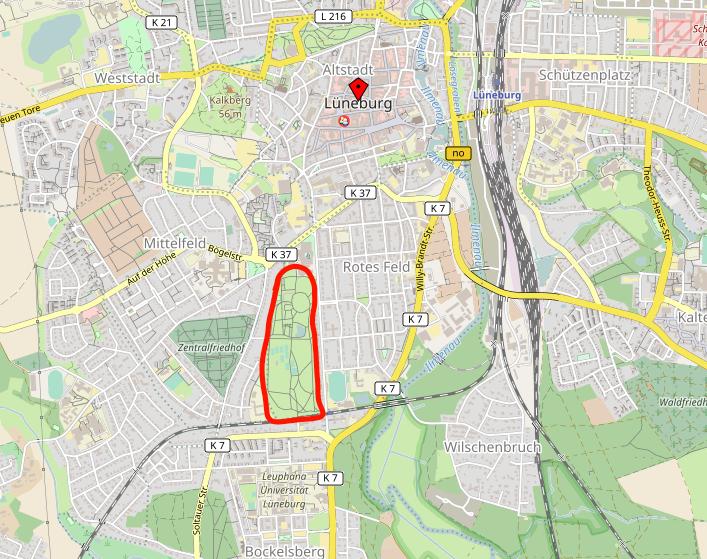 Lage des Kurparks © Open Street Map