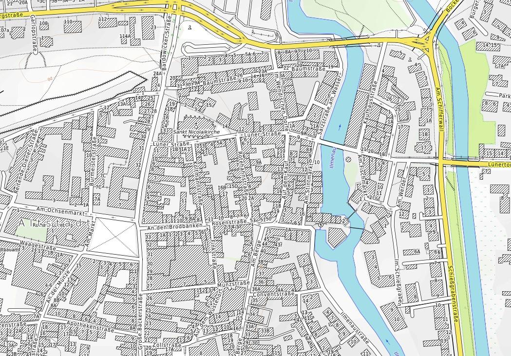 Karte der Position des Hafens in der Altstadt © Open Street Map
