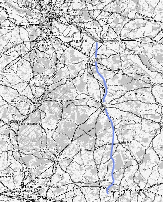 Der Verlauf des ESK von der Elbe bis zum MLK © Open Street Map