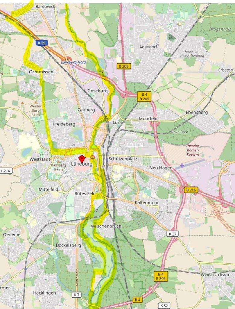 Der Ilmenau-Radweg ab Lüneburg als Rundtour mit zwei Schleifen © Open Street Map