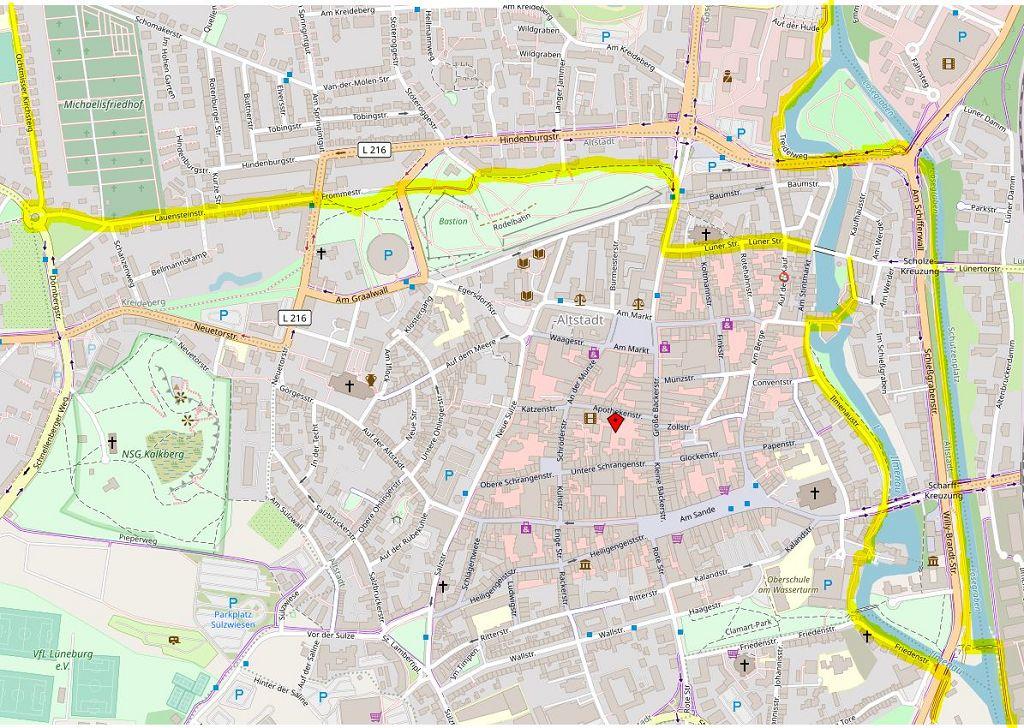 Karte der Lüneburger Innenstadt mit Start und Ende der Süd- und der Nordschleife der Ilmenau-Tour © Open Street Map
