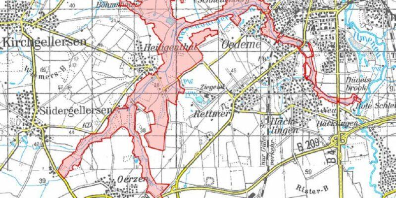 """Karte des Naturschutzgebiets """"Hasenburger Bachtal"""" © Niedersächsischer Landesbetrieb für Wasserwirtschaft, Küsten- und Naturschutz/Landesamt für Geoinformation und Landesvermessung Niedersachsen, 2020"""