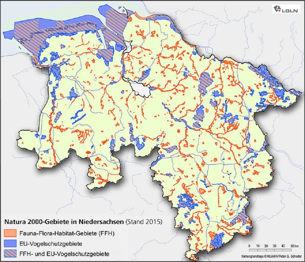 Natura 2000-Gebiete in Niedersachsen © Niedersächsischer Landesbetrieb für Wasserwirtschaft, Küsten- und Naturschutz/Peter G. Schader © Landesamt für Geoinformation und Landesvermessung Niedersachsen, 2020