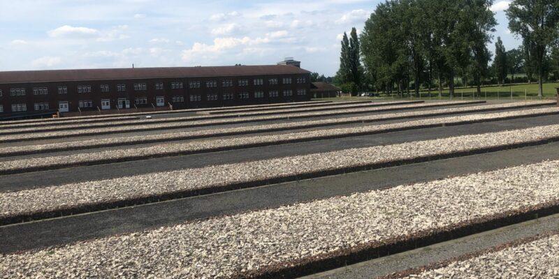 Auf dem ehemaligen Lagergelände deuten Bahnen aus Trümmerteilen auf die einstigen Baracken hin © Koberidze