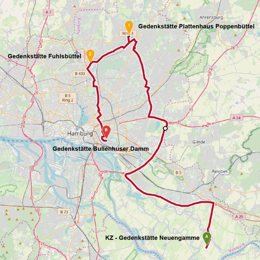 Überblick über die Gedenkstätten, Denkmäler und Ausstellungen im Hamburger Umland © OpenStreetMap