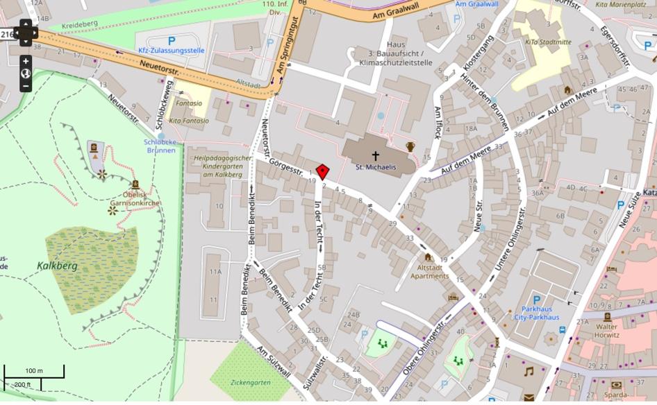 Die Lage der St. Michaelis Kirche in Lüneburg © Open Street Map